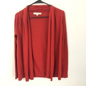 LOFT clay red wool blend open front cardigan